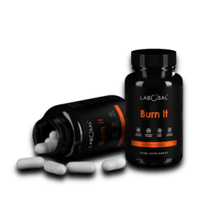 2 supplement bottle of fat burner with white capsules